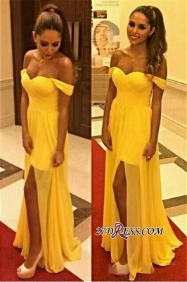 Open-Back Sexy Long Yellow Front-Slit Off-the-shoulder Chiffon Sleeveless Evening Dress UK_2