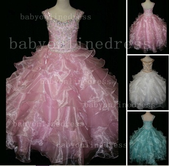 Formal Cheap Pageant Dresses for Girls with Beauty Customized Beaded Flower Girls Gowns for Sale_1