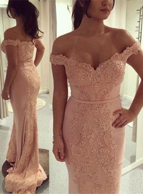 Gorgeous Off-the-Shoulder Mermaid Evening Dress UK Lace Appliques On Sale BA7426_1