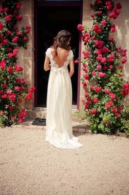 Gorgeous Lace Long  Wedding Dress Cap Sleeve_1