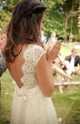 Gorgeous Lace Long  Wedding Dress Cap Sleeve_3