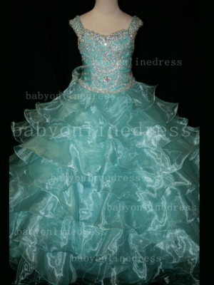 Formal Cheap Pageant Dresses for Girls with Beauty Customized Beaded Flower Girls Gowns for Sale_6