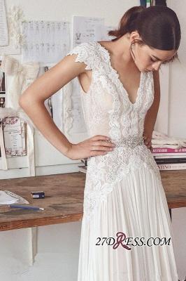 Long Elegant Cap-Sleeve Lace Crystal Lace Wedding Dress_5