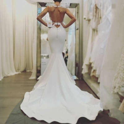 Elegant Sexy Mermaid Sleeveless Wedding Dresses UK Cheap Open Back Lace Wedding Dress Online_3