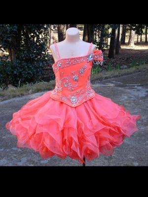 Lovely One SHoulder Flower Girl Dress UK With Crystals_1