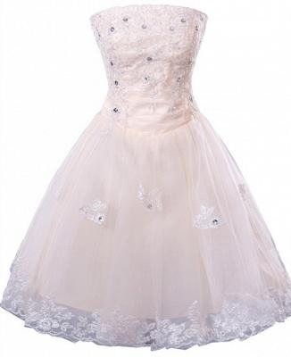 Gorgeous Strapless Sleeveless Short Homecoming Dress UK With Beadings Lace_2