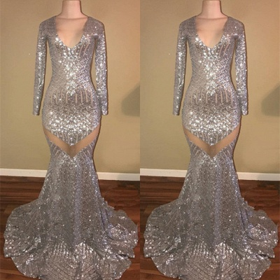 Long Sleeve Sequins Prom Dress UK | Mermaid V-Neck Evening Gowns_3