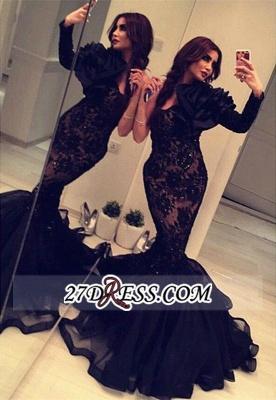 Elegant Black Long Sleeve Mermaid Prom Dress UK Lace Appliques Beadings BA2189_3