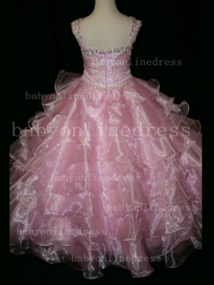 Formal Cheap Pageant Dresses for Girls with Beauty Customized Beaded Flower Girls Gowns for Sale_3