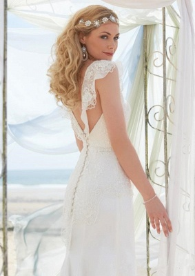Romantic Cap Sleeve White Wedding Dress Zipper Button Back_2