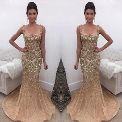 Sexy Straps Crystal Mermaid Evening Dress UK On Sale_3