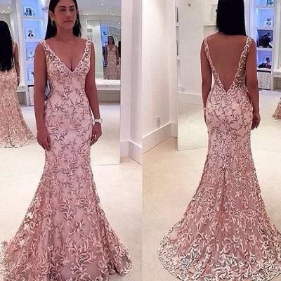 Elegant V-Neck Sleeveless Evening Dress UK Lace Mermaid Floor Length_3