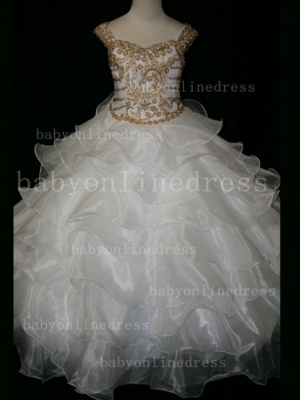 Formal Cheap Pageant Dresses for Girls with Beauty Customized Beaded Flower Girls Gowns for Sale_4