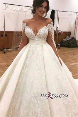 Elegant Long-Sleeve Wedding Dress | Ball-Gown Lace Bridal Gowns_2