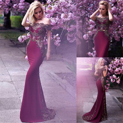 Gorgeous Off-the-Shoulder Evening Dress UK Lace Mermaid Party Gowns On Sale_4