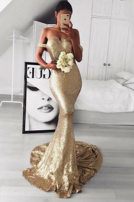 Gold Sequins Prom Dress UK | Mermaid Off-the-Shoulder Evening Gowns BA9499_1
