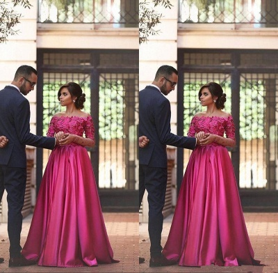 Gorgeous Off-the-shoulder Long Sleeve Fuchsia Evening Dress UKes UK A-line Party Gowns_3