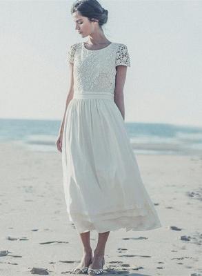 Newest White Lace A-line Wedding Dress Cap Sleeve Tea Length Jewel_1