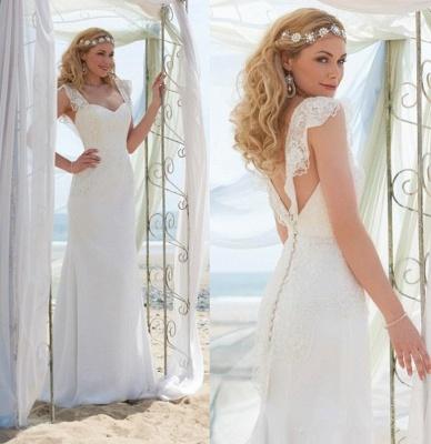 Romantic Cap Sleeve White Wedding Dress Zipper Button Back_3