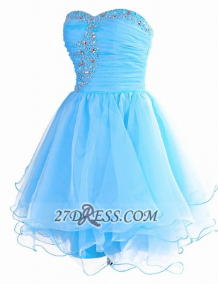 Pretty Semi-sweetheart Sleeveless Short Homecoming Dress UK Lace-up Crystals Organza Cocktail Gown_1