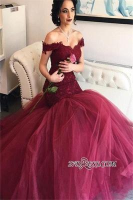 Burgundy Off-the-Shoulder Tulle Lace Mermaid Newest Prom Dress UKes UK BA4286_2