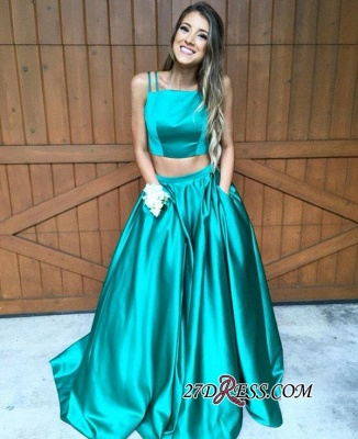 Newest Sweep-Train Two-Piece Straps A-line Sleeveless Evening Dress UK_4