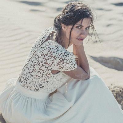 Newest White Lace A-line Wedding Dress Cap Sleeve Tea Length Jewel_5