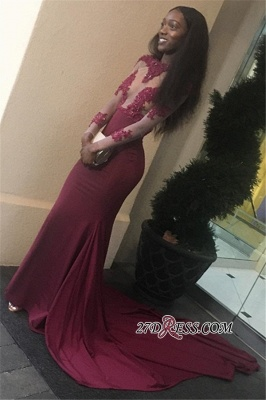 Burgundy prom Dress UK, lace evening gowns BK0_3