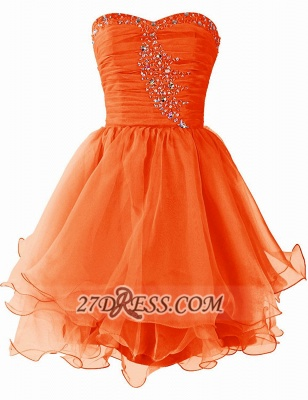 Pretty Semi-sweetheart Sleeveless Short Homecoming Dress UK Lace-up Crystals Organza Cocktail Gown_2