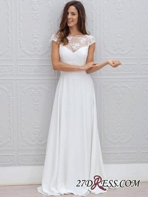 Simple A-line Backless Sweep-train Chic Short-Sleeves White Wedding Dress_3