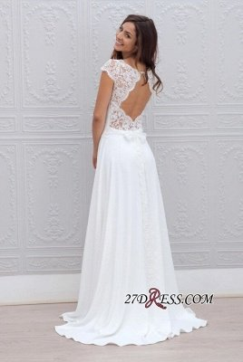 Simple A-line Backless Sweep-train Chic Short-Sleeves White Wedding Dress_2