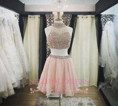 Luxury Pink Halter-Neck Two-Piece Blush Crystals Short Homecoming Dress UKes UK_1