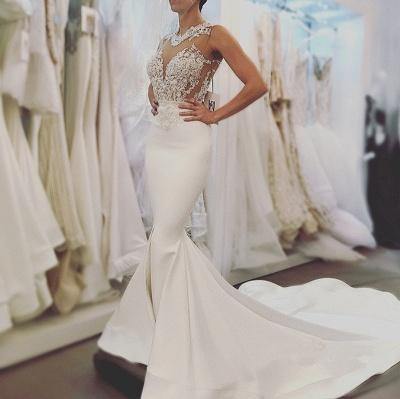 Elegant Sexy Mermaid Sleeveless Wedding Dresses UK Cheap Open Back Lace Wedding Dress Online_4