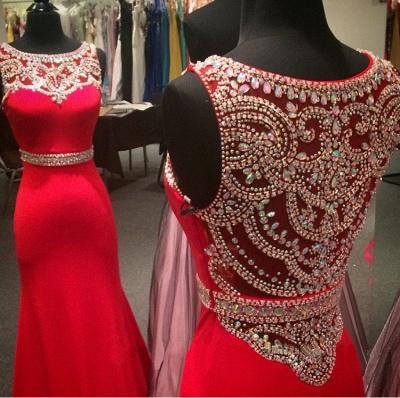 Modern Red Crystals Mermaid Prom Dress UK Illusion Sleeveless_3