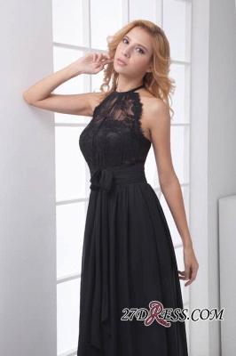 Sleeveless Sash Floor-length Black Lace Modern A-line Bridesmaid Dress UK_2