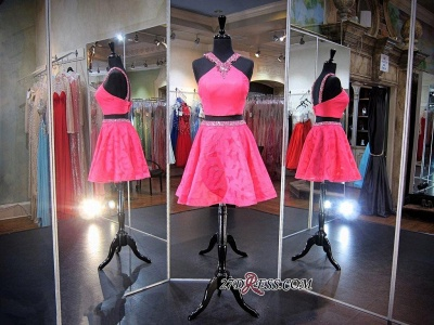 Mini Sleeveless A-line Beads Newest Two-Piece Straps Homecoming Dress UK_3