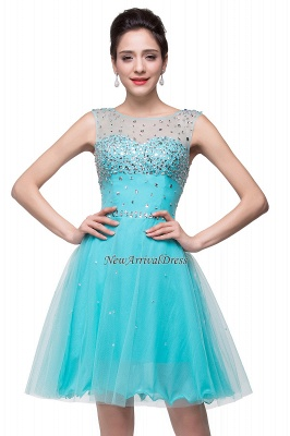 ELIN | A-line Sleeveless Crew Short Tulle Prom Dresses with Crystal Beads_6