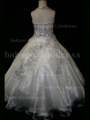 Discounted Wholesale Ball Gown Girls Pageant Dresses Beaded Crystal Online_2