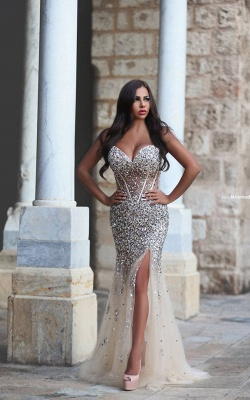 Gorgeous Mermaid Front Split Tulle Prom Dress UK Beadings_1