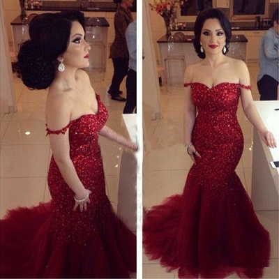 Gorgeous Red Sequins Prom Dress UKes UK Off-the-shoulder Mermaid Tulle_3