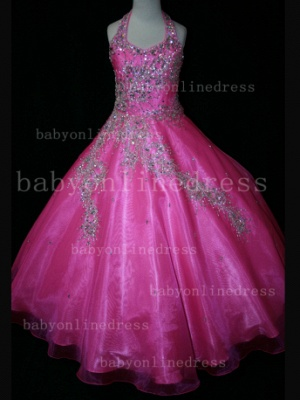Discounted Wholesale Ball Gown Girls Pageant Dresses Beaded Crystal Online_5