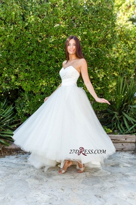 Floor-length Half-sleeves Off-the-shoulder Ball-Gown Simple Lace Wedding Dress_3