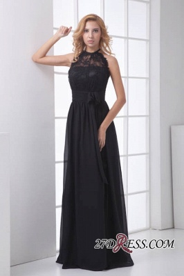 Sleeveless Sash Floor-length Black Lace Modern A-line Bridesmaid Dress UK_6