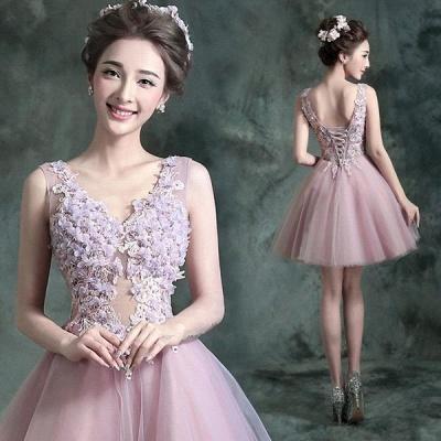 beautiful V-neck Homecoming Dress UK Sleeveless Short With Flowers_4