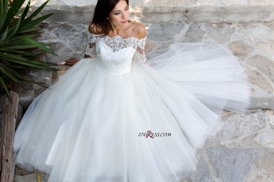 Floor-length Half-sleeves Off-the-shoulder Ball-Gown Simple Lace Wedding Dress_2