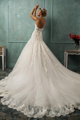 Elegant Sweetheart Sleeveless Sexy Mermaid Wedding Dress With Lace Appliques_2