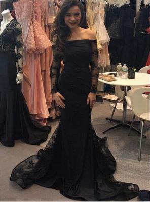 Elegant Black Mermaid Long Sleeve Evening Dress UK Long With Lace_1