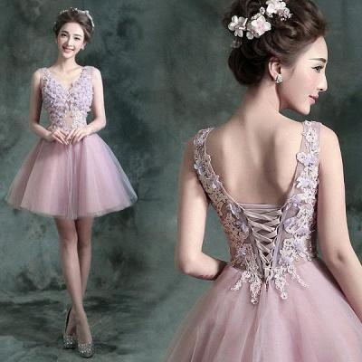 beautiful V-neck Homecoming Dress UK Sleeveless Short With Flowers_3