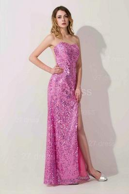 Gorgeous Sequins Front Split Evening Dress UK Sweetheart Sleeveless Floor-length_1