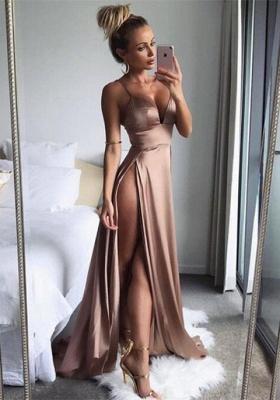 Elegant Spaghetti-Straps Split Long Prom Dress UK Women's Party Gowns BA7528_1